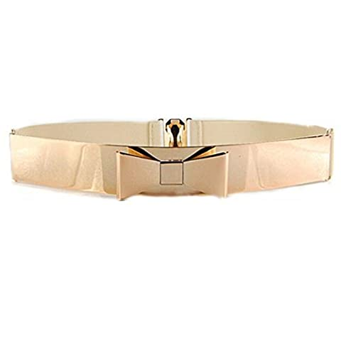 Women Fashion Gold Metal Keeper Metallic Big Mirror Bow Wide Obi Belts (Beige) by Sell D Best