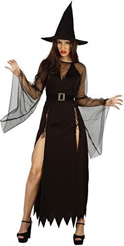 Kostüm Hexe Spitzen - U LOOK UGLY TODAY Halloween Kostüm Damen Hexe Sexy Cosplay Karneval Abendkleid Spitze Kleid Verkleidungsparty mit Hut- S/M - 42