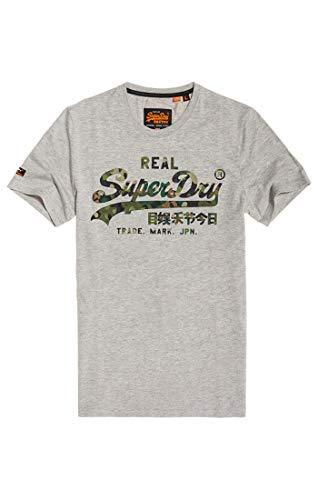 Superdry Herren Vintage Logo Layered CAMO Tee T-Shirt, Grau (Grey Marl 07Q), Small -
