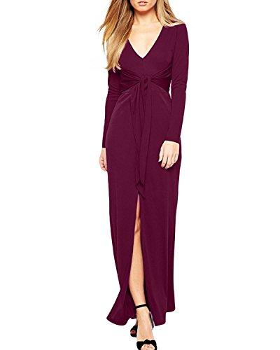 ZANZEA Femme Sexy Col V Manches Longues Ceinture Split Robe Longue Maxi de Soirée Cocktail Violet