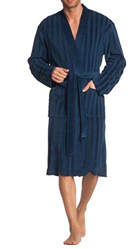 Vossen Herren Velours Bademantel Morgenmantel in burgundy, blau oder grau Dunkelwinternight