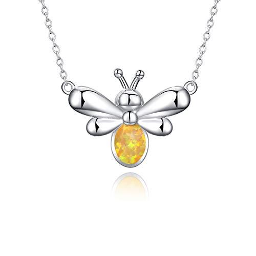 925 Sterling Silber Insekt Schmuck hart arbeitende Bienen gelb Opal Anhänger Kette, Bumble Bee Geschenke für Frauen Mädchen ()