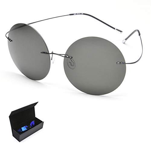 CWYPB Retro Polarisierte Sonnenbrille, UV-Sonnenbrille Der Frauen, Ultraleichtes Rahmenloses Sonnenauge Mit Geschenkbox Für Das Reise-Strand-Einkaufen,B