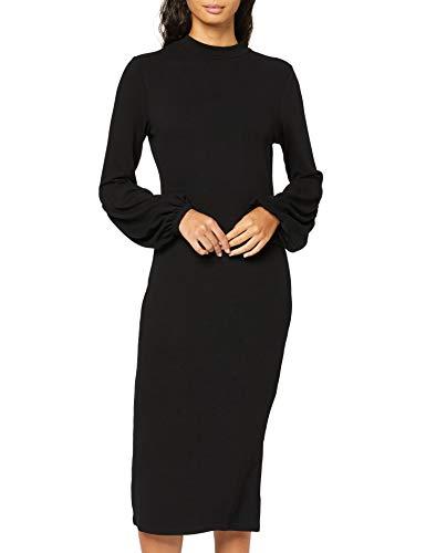 find. Vestito Midi con Manica a Palloncino Donna , Nero (Black), 40 (Taglia Produttore: X-Small)