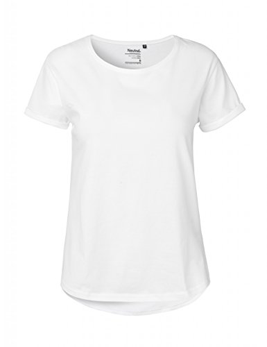 Ladies Roll Up Sleeve T-Shirt, Größe:L, Farbe:WHITE - Sleeve V-neck Jersey T-shirt