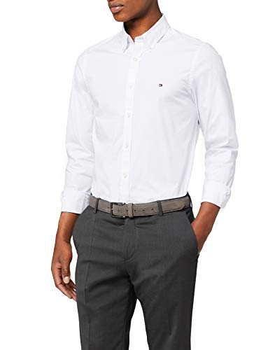 Tommy hilfiger core stretch slim poplin shirt camicia sportiva, bianco (bright white 100), large uomo