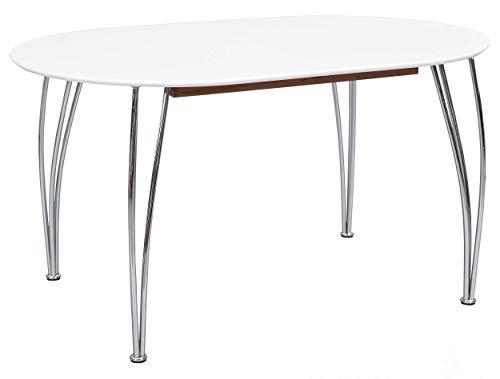 H24living Esstisch Ausziehtisch 140-180 cm Esszimmertisch Küchentisch Ausziehbarer Esstisch Küche Oval Metall Moderner