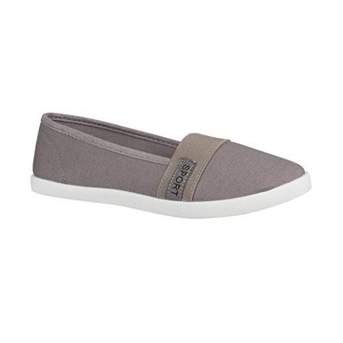 Elara Damen Ballerina | Slip-Ons Freizeit | Flach Bequeme Slipper Flats | chunkyrayan K160 Grey-41