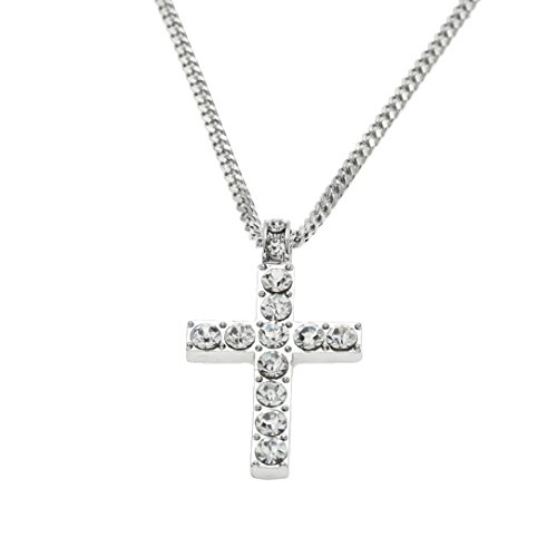 Kette Schmuck Halskette Damen DAY.LIN Hip Hop Men Women Jewelry Bling Rhinestone Crystal Cross Pendant Necklace (Silver)