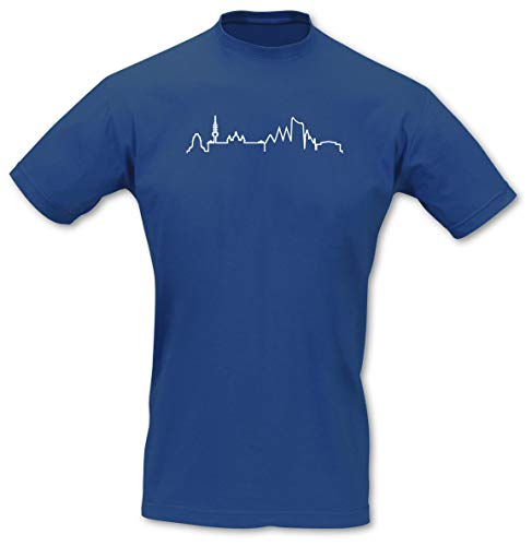 Samunshi® Leipzig Silhouette Skyline T-Shirt City, Imperial Größe L, royal blau/weiß