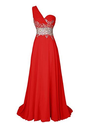 Dresstells Damen Maxikleid mit One-Shoulder-Optik und Pailletten DT90704 Rot