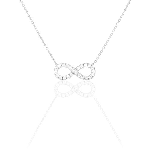 HISTOIRE D'OR - Collier Or Blanc Infini et Oxydes 43cm - Femme - Or blanc 375/1000
