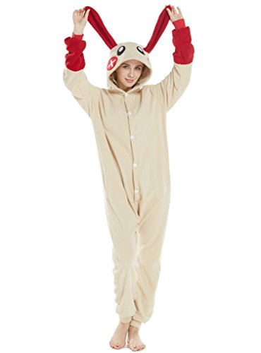 Tier Cosplay Kostüme Onesies Pyjama Halloween Party Snorlax Kaninchen Unisex-Adult Onepiece Nachtwäsche Kigurumi Kaninchen Rot ()