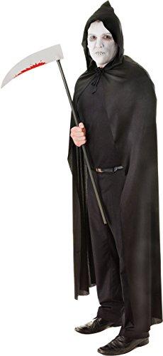 Halloween Erwachsene Fancy Kleid Kostüm Kapuzen Umhang Sensenmann Scary Outfit UK, Schwarz (Scary Sensenmann Kostüm)