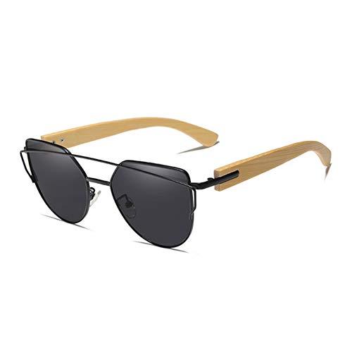 VIWIV Original Bamboo Cat Eye Polarisierte Sonnenbrille Metallrahmen Holz Eyewear Frauen Sonnenbrille Mit Holzkiste,5