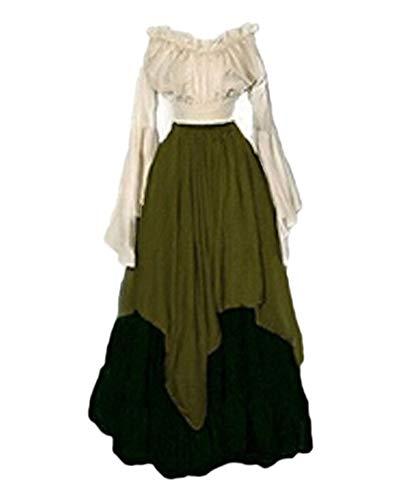 LaoZanA Vestito Medievale Donna Rinascimentale Abiti retrò Gotico Cosplay Costume Verde L