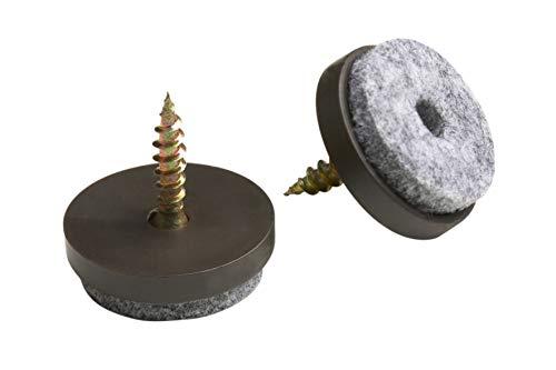 Metafranc Filz-Gleiter Ø 20 mm - Mit Schraube - braun - 20 Stück - Effektiver Schutz Ihrer Möbel & Stühle / Möbelgleiter-Set für empfindliche Böden / Stuhlgleiter / Bodengleiter / 644206