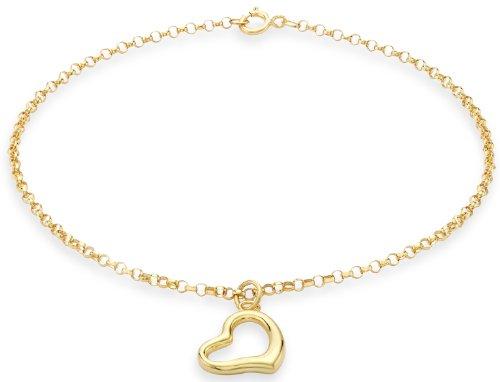 Carissima Gold Damen Heart Charm Rund Belcher Armband 9k(375) Gelbgold 1.5mm 18cm/7zoll (Gold Armband Charms)