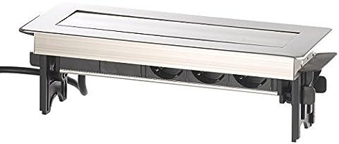revolt Schreibtisch Steckdose: Versenkbare Profi-Einbau-Tisch-Steckdose, 3-fach, 2x USB, Edelstahl (Einbau Steckdosenleisten mit USB Lade Buchsen)