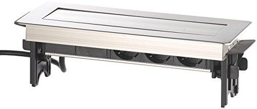 revolt Tischsteckdosen: Versenkbare Profi-Einbau-Tisch-Steckdose, 3-fach, 2x USB, Edelstahl...