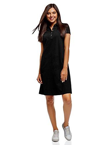 4a37083a3d6849 oodji Collection Damen Pique-Polo-Kleid, Schwarz, DE 34 / EU 36 / XS