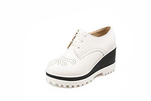 AgooLar Femme Matière Souple Rond à Talon HautCouleur Unie Chaussures Légeres Blanc