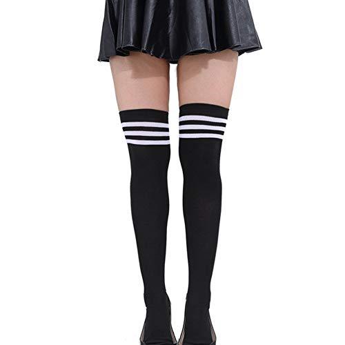 Butterme Frau Mädchen Über den Knie Extra Lang Fußball Rugby Socks Strümpfe Sport Tights mit Klassik Dreibettzimmer Stripes Cosplay Socken (Schwarz+Weiß)