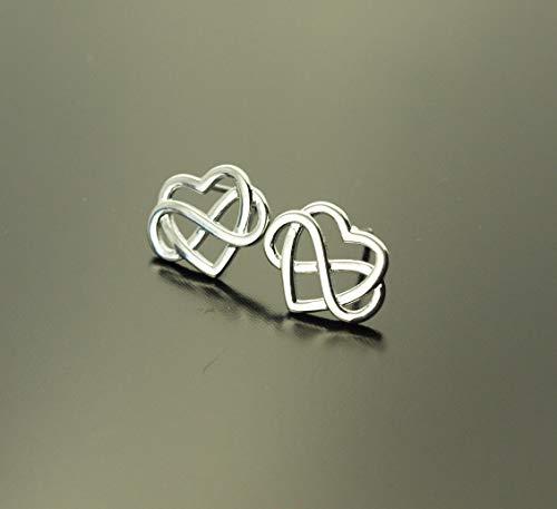 Ohrstecker Herzen Liebe Infinity Unendlichkeit Freundschaft Knoten Stecker silbern Ohrringe