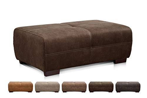 Cavadore Hocker Mavericco / Brauner Polsterhocker in Lederoptik / Industrial Style / Passend zu Big Sofa und Ecksofa Mavericco / 108 x 71 x 41 cm (BxHXT) / Mikrofaser Braun (Rücken Leder Sitzbank Mit)