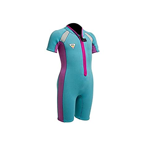 Gul Junior Seaspray 3/2mm FZ T2 Shorty Wetsuit 2017 - Turquoise/Pink T1