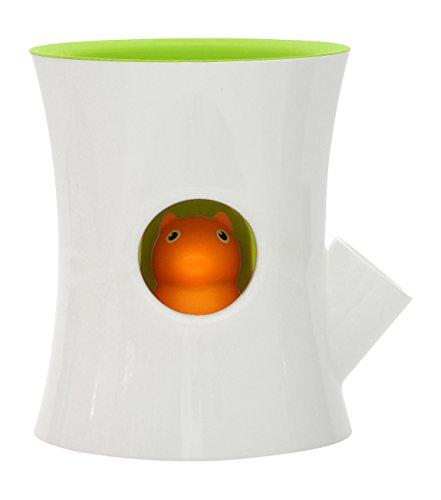 Qualy Log & Squirrel Pot de Fleurs avec système d'irrigation, Plastique, Blanc/Vert, 13 x 15 x 14 cm