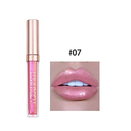KHKJ Metallic Lipgloss Plumper Make Up Lip Stain Holographic Lipgloss Shimmer Glow Mermaid Lip Gloss Glitter Makeup -