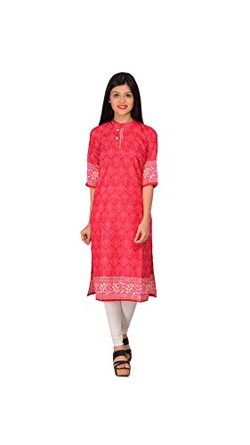 Nakoda Creation Women's Unstitched Cotton Printed Kurti Fabric (201_Pink)  available at amazon for Rs.99