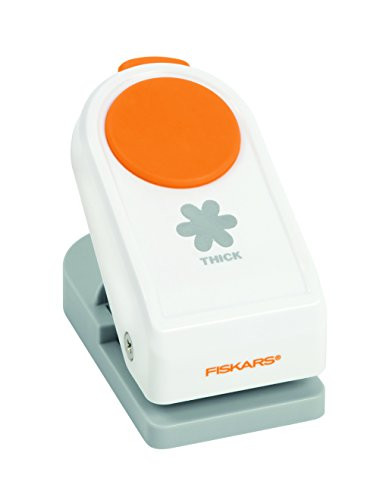 Fiskars Perforatore con motivo, Fiore, Ø 3,8 cm, Per mancini e destrorsi, Acciaio di qualità/Plastica, Bianco/Arancione, Power, L, 1020491