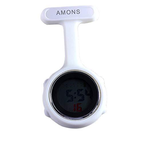 Digital Multifunktion Schwesternuhr mit Anstecknadel Taschenuhr (weiß)