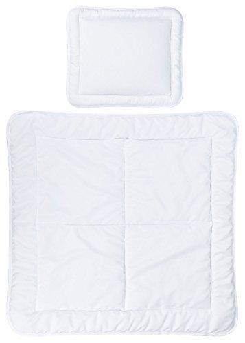 Aminata Kids Baby-Bettdecke und Kopf-Kissen 80-x-80 | 35-x-40 cm - Baby-Betten-Set - 4-Jahreszeiten Kinderwagendecken-Set aus hochwertigem weichem Mikrofaser - Öko-Tex - waschbar