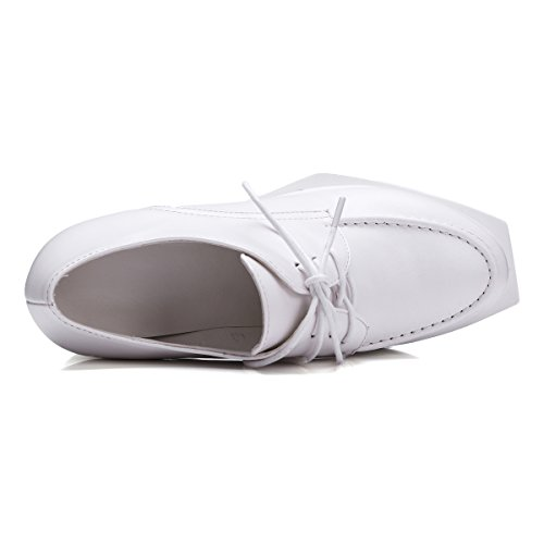 Damen Pumps Keilabsatz Freizeit Plateauschuhe Schn¨¹rschuhe Flache Schuhe Weiß