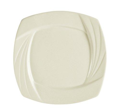 CAC China Garden State Bone Porzellan-Teller, quadratisch, Weiß 7-1/2-Inch Bone white - Weiße China Quadratische Teller,