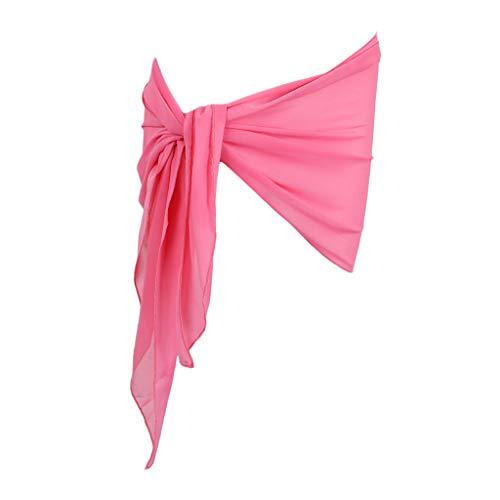F Fityle Damen Sommer Strand Wickelrock Chiffon Wickelrock Sarong Bikini Cover UP Pareo Beach Wrap Wickeltuch Strandrock Strandtuch Badeanzug Wrap - Rosa, 85cm Rosa Chiffon Wrap