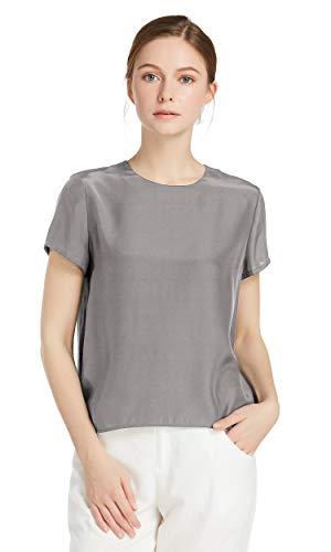 LilySilk Seide Damen Hemdbluse Kurzarm Bluse Hemd Tunika 22 Momme (M, Grau) Verpackung MEHRWEG - Kurzarm-seiden-tunika