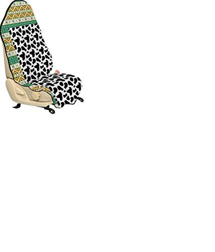 ABAKUHAUS Kuh-Druck Universal Schon und Autositzbezug, Kuhfell Schwarz Spots, Stoff für Fahrer Vordersitze Anti Slip, 75x145cm, Charcoal Grau Weiß