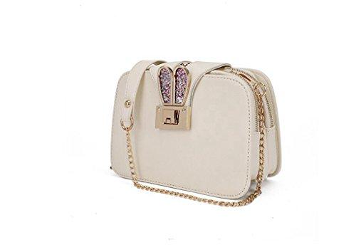 Versione la signora coreana della nuova borsa a tracolla, a catena, sacchetto del messaggero, un telefono cellulare piccolo sacchetto, un piccolo pacchetto quadrato creamy-white