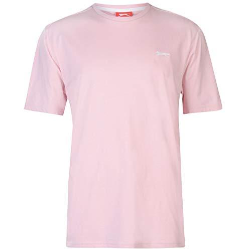 Slazenger Herren Plain Kurzarm Rundhals Tee Top Freizeit T-Shirt Sportshirt Hell Rosa XXXXL
