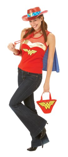 Official Adults Wonder Woman Top with Cape Fancy Dress