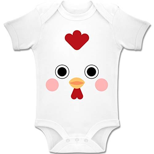 Shirtracer Karneval und Fasching Baby - Hahn Kostüm - 6-12 Monate - Weiß - BZ10 - Baby Body Kurzarm Jungen (Baby Hahn Kostüm)