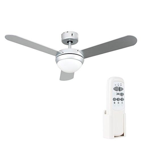 MiniSun - Ventilador de techo con mando a distancia y luz - de diseño moderno - acabado plateado, 3 aspas, para frío y calor