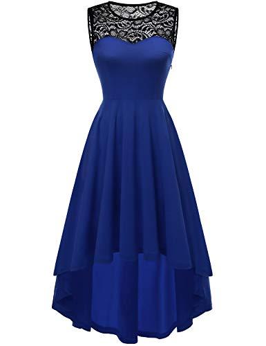 YOYAKER Damen Vintage Retro Spitzen Rundhals Ärmellos Cocktail Party Abendkleider Royal Blue M -