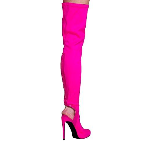 Onlymaker Damen Langschaft Stiefel Overknee Boots High Heels Fashion Stiefeletten Helles Rosa