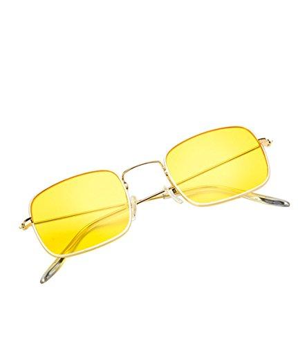 DaoRier Sonnenbrille Polarisiert UV-Schutz Mode Damen Männer Retro kleine Grenze Rahmen Schutzbrillen Brillen Widerstehen der Sonne (Gelb)