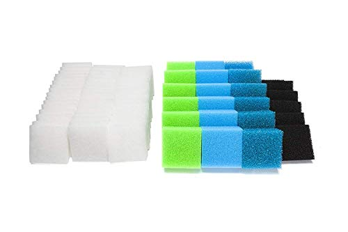 LTWHOME Feinfilter, Kohlefilter, Grobfilter, Nitratfilter und Polyfilter Serie Passend f¨¹r Juwel Compact/BioFlow 3.0/ M (Packung mit 74)
